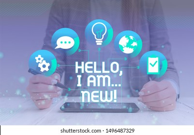 Handwriting text Hello I Am New. Concept meaning used greeting or begin telephone conversation woman icons smartphone computer tablet office supply technological device.