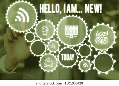 Handwriting text Hello I Am New. Concept meaning used greeting or begin telephone conversation Woman wear formal work suit presenting presentation using smart device.