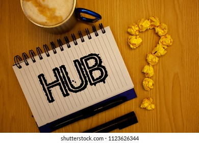 Handwriting text Hub. Concept meaning Device connecting computers Center of Wheel Activities Transportation Ideas grunge notebook coffee cup crumpled papers equal sign wooden wood.