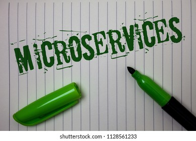 Handwriting text Microservices. Concept meaning Software development technique Decomposing an application Linned paper background pen cap marker highlighter ink green drawing.