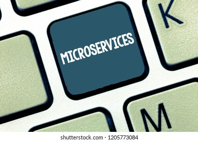 Handwriting text Microservices. Concept meaning Software development technique Building single function module