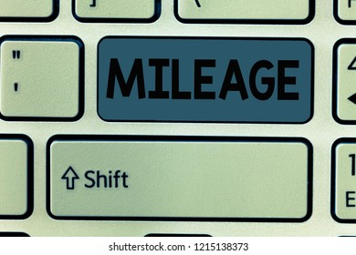 Handwriting text Mileage. Concept meaning Number of miles travelled or covered Display panel Car instrument