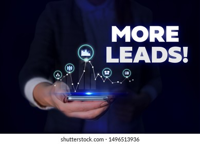Handwriting text More Leads. Concept meaning initiation consumer interest enquiry into products or services Woman wear formal work suit presenting presentation using smart device.