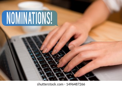 Handwriting text Nominations. Concept meaning action of nominating or state being nominated for prize woman laptop computer smartphone mug office supplies technological devices.