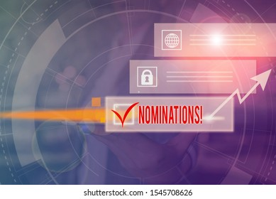 Handwriting text Nominations. Concept meaning action of nominating or state being nominated for prize Picture photo system network scheme modern technology smart device.