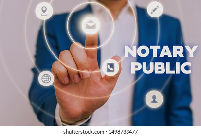 Handwriting text Notary Public. Concept meaning Legality Documentation Authorization Certification Contract.