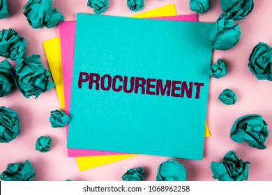 Handwriting text Procurement. Concept meaning Obtaining Procuring Something Purchase of equipment and supplies written on Sticky Note Paper on plain background Crumpled Paper Balls next to it.