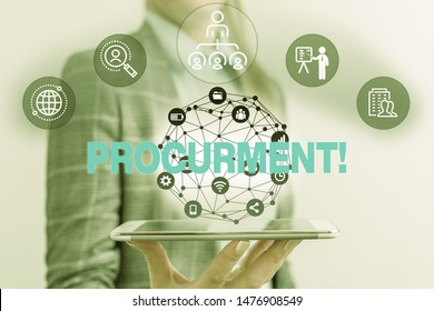 Handwriting text Procurment. Concept meaning action of acquiring military equipment and supplies Male human wear formal work suit presenting presentation using smart device.
