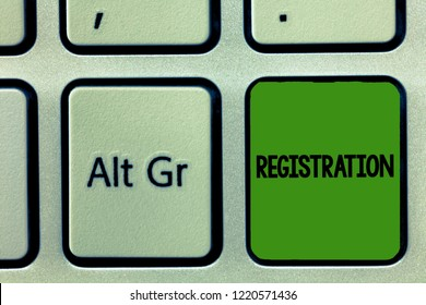 Handwriting text Registration. Concept meaning Action or process of registering or being registered Subscribe