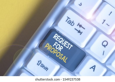 Handwriting text Request For Proposal. Concept meaning document contains bidding process by agency or company White pc keyboard with empty note paper above white background key copy space.