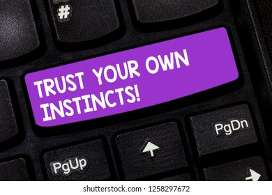 Handwriting text Trust Your Own Instincts. Concept meaning Intuitive follow demonstratingal feelings confidence Keyboard key Intention to create computer message pressing keypad idea.