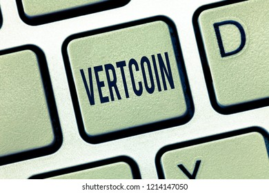 Handwriting text Vertcoin. Concept meaning Cryptocurrency Blockchain Digital currency Tradeable token