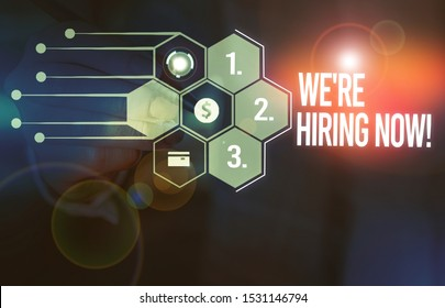 Handwriting text We Re Hiring Now. Concept meaning recently employ someone or pay someone to do particular job Male human wear formal work suit presenting presentation using smart device.