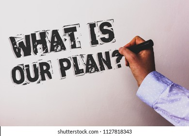Handwriting text What Is Our Plan Question. Concept meaning Mission Purpose Agenda Strategize Brainstorming Advisors hand holding black marker whiteboard written black color words.