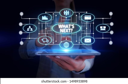 Handwriting text What S Next Question. Concept meaning asking demonstrating about his coming actions or behaviors Woman wear formal work suit presenting presentation using smart device.