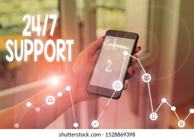 Handwriting text writing 24 Or 7 Support. Concept meaning Giving assistance to service whole day and night No downtime.
