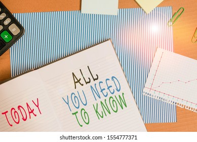 Handwriting text writing All You Need To Know. Concept meaning Tell only the Facts and Important ones Access to Data Striped paperboard notebook cardboard office study supplies chart paper.