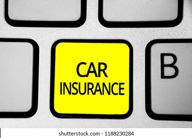 Handwriting text writing Car Insurance. Concept meaning Accidents coverage Comprehensive Policy Motor Vehicle Guaranty Keyboard yellow key Intention create computer computing reflection document.