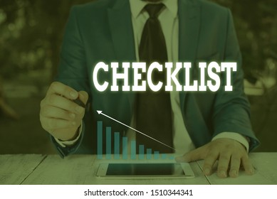 Handwriting text writing Checklist. Concept meaning List down of the detailed activity as guide of doing something Male human wear formal work suit presenting presentation using smart device.