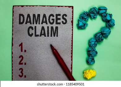 Handwriting text writing Damages Claim. Concept meaning Demand Compensation Litigate Insurance File Suit Gray paper marker crumpled papers forming question mark green background.