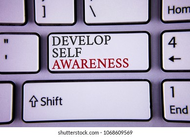 Handwriting text writing Develop Self Awareness. Concept meaning What you think you become motivate and grow written white keyboard key with copy space Top view.