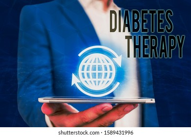 Handwriting text writing Diabetes Therapy. Concept meaning aim to achieve lower average blood glucose results.