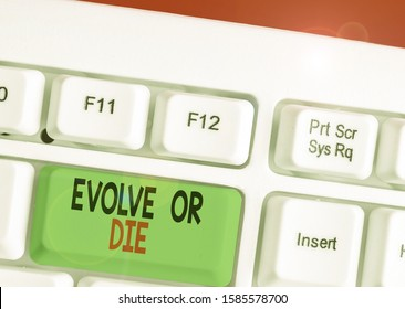Handwriting text writing Evolve Or Die. Concept meaning Necessity of change grow adapt to continue living Survival.