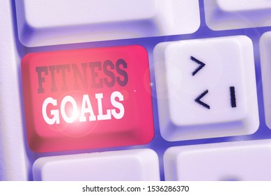 Handwriting text writing Fitness Goals. Concept meaning Loose fat Build muscle Getting stronger Conditioning White pc keyboard with empty note paper above white background key copy space.