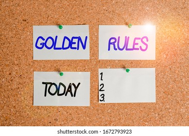 Handwriting text writing Golden Rules. Concept meaning basic principle that should always follow to ensure success Corkboard color size paper pin thumbtack tack sheet billboard notice board.