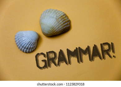 Handwriting text writing Grammar Motivational Call. Concept meaning System and Structure of a Language Writing Rules Grunge ideas messages shells light brown background beach memories thoughts.