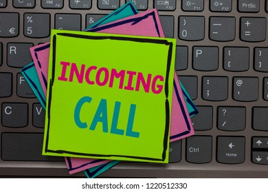 Handwriting text writing Incoming Call. Concept meaning Inbound Received Caller ID Telephone Voicemail Vidcall Papers reminders keyboard Inspiration communicate Annotations Type computer.