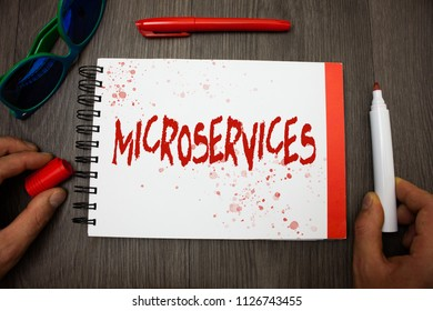 Handwriting text writing Microservices. Concept meaning Software development technique Decomposing an application Googles glasses pen marker cap notepad notebook highlighter eye sight.