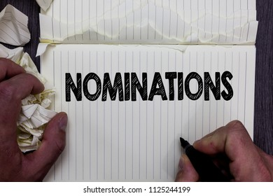 Handwriting text writing Nominations. Concept meaning Suggestions of someone or something for a job position or prize Notebook register handwork line drawing child learn study tear pages.