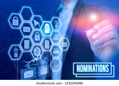 Handwriting text writing Nominations. Concept meaning action of nominating or state being nominated for prize Woman wear formal work suit present presentation using smart latest device.