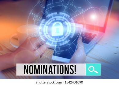Handwriting text writing Nominations. Concept meaning action of nominating or state being nominated for prize Picture photo system network scheme modern technology smart device.