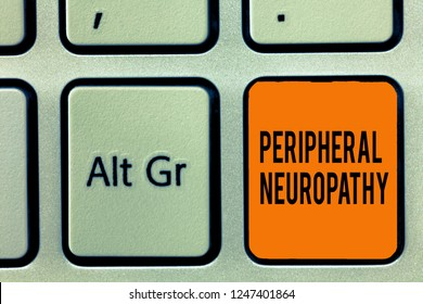 Handwriting text writing Peripheral Neuropathy. Concept meaning Condition wherein peripheral nervous system is damaged