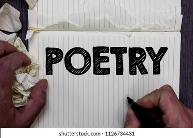 Handwriting text writing Poetry. Concept meaning Literary work Expression of feelings ideas with rhythm Poems writing Notebook register handwork line drawing child learn study tear pages.