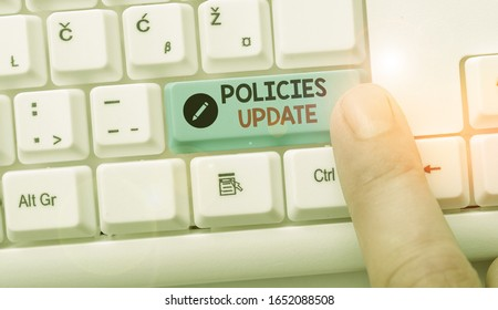 Handwriting text writing Policies Update. Concept meaning act of adding new information or guidelines formulated.