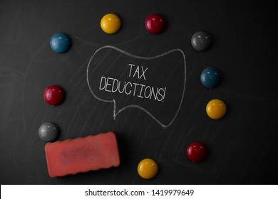 Handwriting text writing Tax Deductions. Concept meaning reduction income that is able to be taxed of expenses Round Flat shape stones with one eraser stick to old chalk black board.