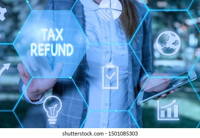 Handwriting text writing Tax Refund. Concept meaning refund on tax when the tax liability is less than the tax paid Female human wear formal work suit presenting presentation use smart device.
