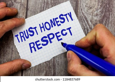 Handwriting text writing Trust Honesty Respect. Concept meaning Respectable Traits a Facet of Good Moral Character