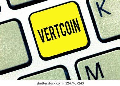 Handwriting text writing Vertcoin. Concept meaning Cryptocurrency Blockchain Digital currency Tradeable token