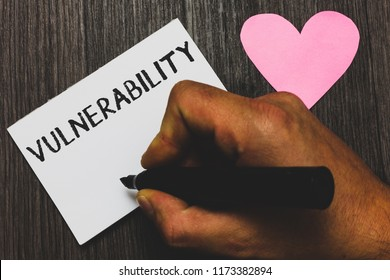 Handwriting text writing Vulnerability. Concept meaning State of being exposed to the possibility of being attacked Man hand holding marker white paper romantic feelings Wooden background.