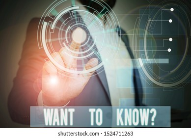 Handwriting text writing Want To Know Question. Concept meaning Request for information Asking Wonder Need Knowledge Male human wear formal work suit presenting presentation using smart device.