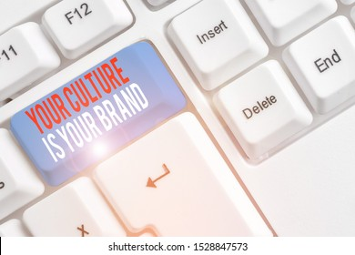 Handwriting text Your Culture Is Your Brand. Concept meaning Knowledge Experiences are a presentation card White pc keyboard with empty note paper above white background key copy space.