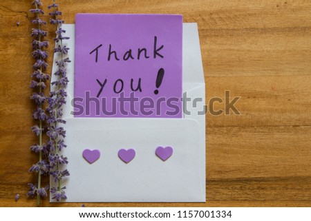 Handwriting Thank You Card Envelope Purple Stock Photo Edit Now