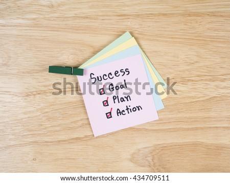 Handwriting Word Success Goal Plan Action Stock Photo Edit Now