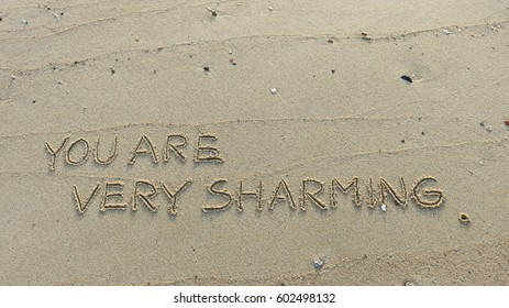 """Handwriting words """"YOU ARE VERY SHARMING."""" on sand of beach"""