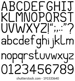 Handwritten Font - Alphabets, numerals and punctuation characters in a brushed, handwritten font. Isolated on white.