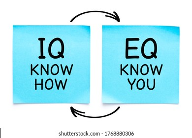 Handwritten IQ Know How and EQ Know You concept on two blue sticky notes isolated on white background.